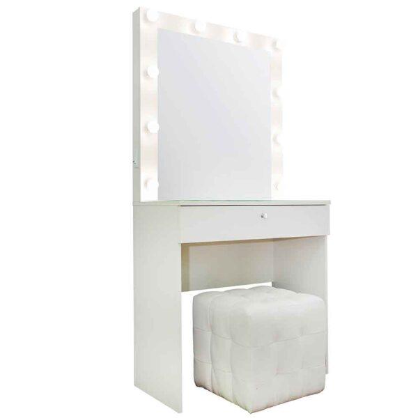 Гримерный-стол-Siberia-с-1-ящиком-белый-фасад-с-пуфом