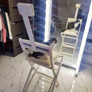 Стул для гримерного стола складной белый GSLW01 от Caravella MakeupMirror.ru