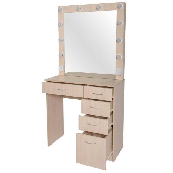 ALLEPO гримерный столик с 5 ящиками беленый дуб с зеркалом 2