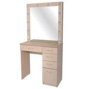 ALLEPO гримерный столик с 5 ящиками беленый дуб с зеркалом