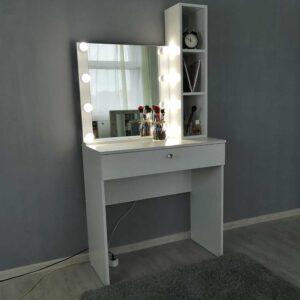 Гримерный стол с зеркалом 60х60 и стеллажом, высотой 140 см