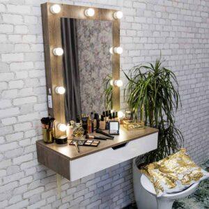 БАТИСТОН 80x95 Подвесной гримерный столик с узким зеркалом (3)