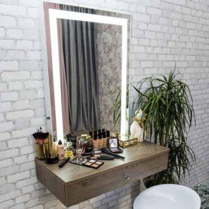 ЛАКИСТОК 80x95 Подвесной столик с ящиком и LED зеркалом (1)